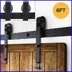 6FT Antique Country Style Steel Sliding Barn Wood Door Closet Hardware Black