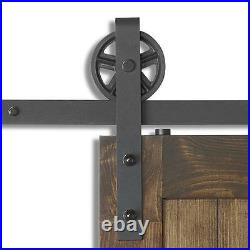 8FT Vintage Strap SUPER BIG Wheel Single Sliding Barn Wood Door Hardware Track