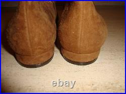 Fabulous, Super Rare, New Rust Suede Donna Karan Flats With Gold Detailing