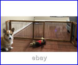 Free Standing Folding Adjustable Gate Dog Panel Wood Pet Slide Safety Fence