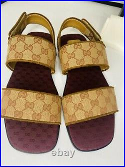 GUCCI Mens Beige Ruggine Brown Super Softy Flat Sandals SIZE 10.5 AUTHENTIC NWB