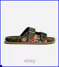 Rare Johnny Was Floral Embroidered Camo Buckle Slides Sandals Us Sz 9 New