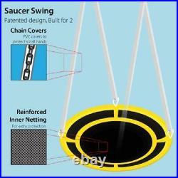 Sportspower Metal Swing Set with Heavy Duty Wavy Slide Super Saucer Swing New