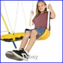 Sportspower Metal Swing Set with Heavy Duty Wavy Slide and Super Saucer Swing