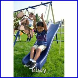 Sportspower Super 8 Fun Metal Swing Set with Saucer, Rocking Horse, Slide and