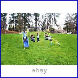 Sportspower Super First Metal Swing Set Playground Slide Trapeze Outdoor Kid's