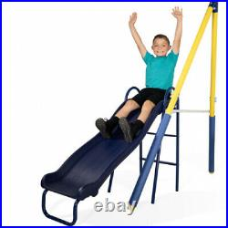 Sportspower Super Saucer Metal Swing Set With 2 Swings and 1pc Heavy Duty Slide
