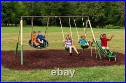 Super Metal Swing Set UFO Saucer Slide Outdoor Jungle Gym Backyard Playground