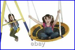 Super Star Swing & Slide Set, Outdoor Heavy-Duty Metal Playset for Kids