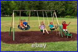 XDP Recreation Super Metal Swing Set with UFO Saucer Swing and Slide